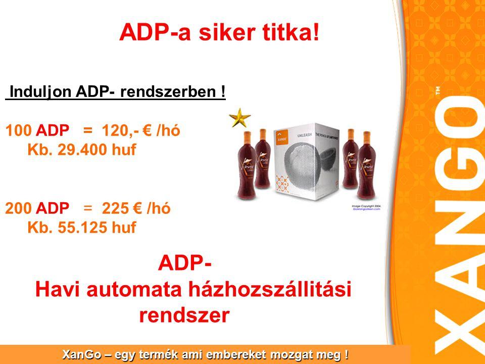 ADP-a siker titka. XanGo – egy termék ami embereket mozgat meg .