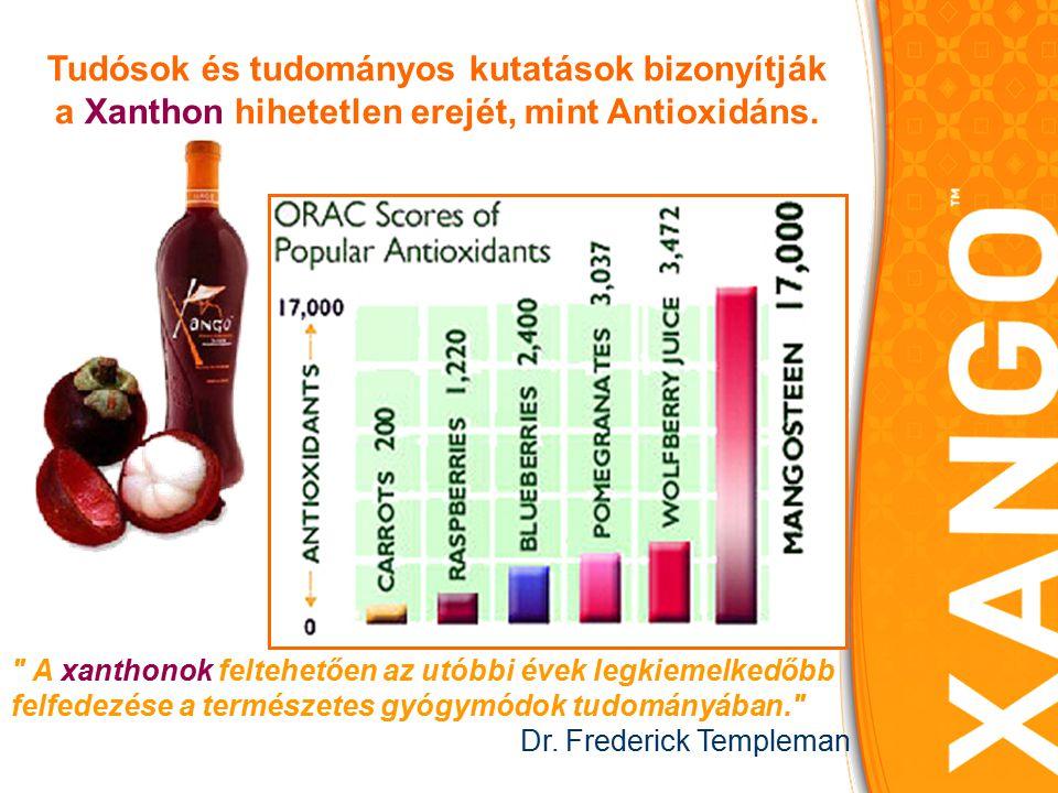 A XanGo szervezetünkre gyakorolt, hatásai: Erősíti az immunrendszert, kiváló betegségmegelőző hatású A Mangosztánban található antioxidánsok semlegesítik a szabadgyököket, védik a szervezetünket A szabadgyökök a daganatos betegségek egyik fő kiváltó okai Vérnyomás és keringési problémák kezelésére Allergia Gyulladáscsökkentő hatás Ekcéma, bőrpanaszok tüneteit enyhíti Gyomor-, bélrendszeri panaszok enyhítésére Húgyúti panaszok (a tőzeg- és feketeáfonya közismerten jótékony hatású az ilyen problémákra) Cukorbetegség Antidepresszáns hatással bír http://www.thewholefruit.com A fenti megállapítások nem az Országos Gyógyszerészeti Intézet szakvéleményei.