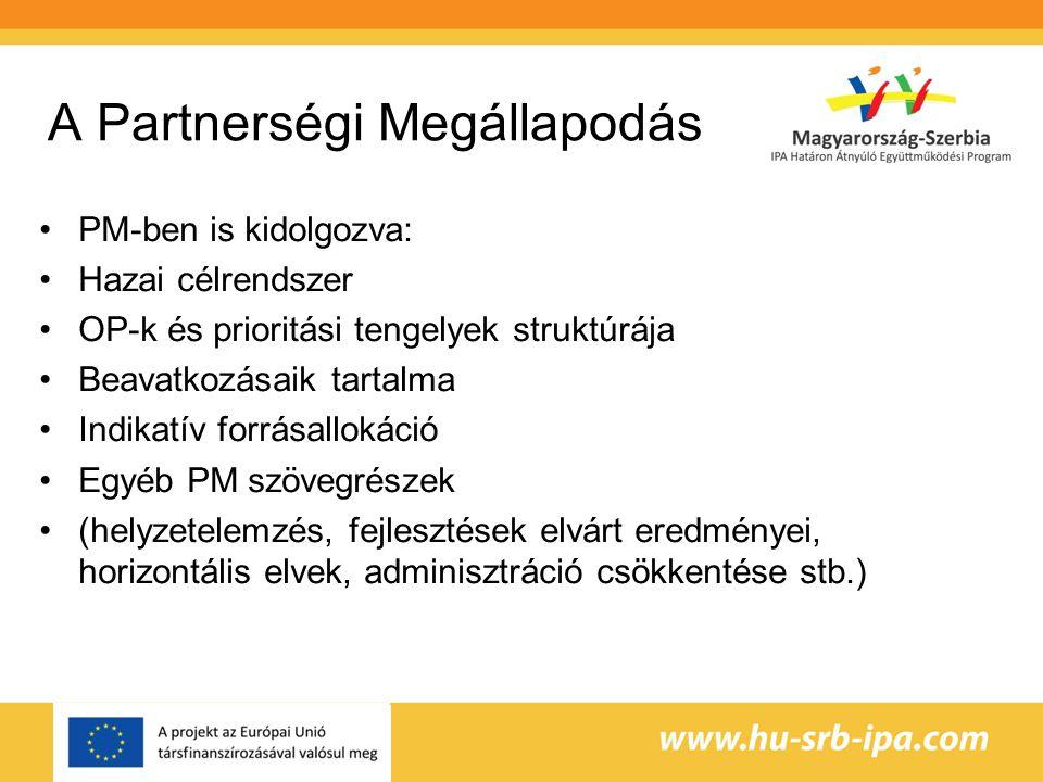 A Partnerségi Megállapodás PM-ben is kidolgozva: Hazai célrendszer OP-k és prioritási tengelyek struktúrája Beavatkozásaik tartalma Indikatív forrásallokáció Egyéb PM szövegrészek (helyzetelemzés, fejlesztések elvárt eredményei, horizontális elvek, adminisztráció csökkentése stb.)