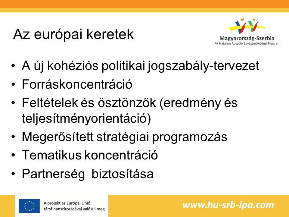 Az európai keretek A új kohéziós politikai jogszabály-tervezet Forráskoncentráció Feltételek és ösztönzők (eredmény és teljesítményorientáció) Megerősített stratégiai programozás Tematikus koncentráció Partnerség biztosítása