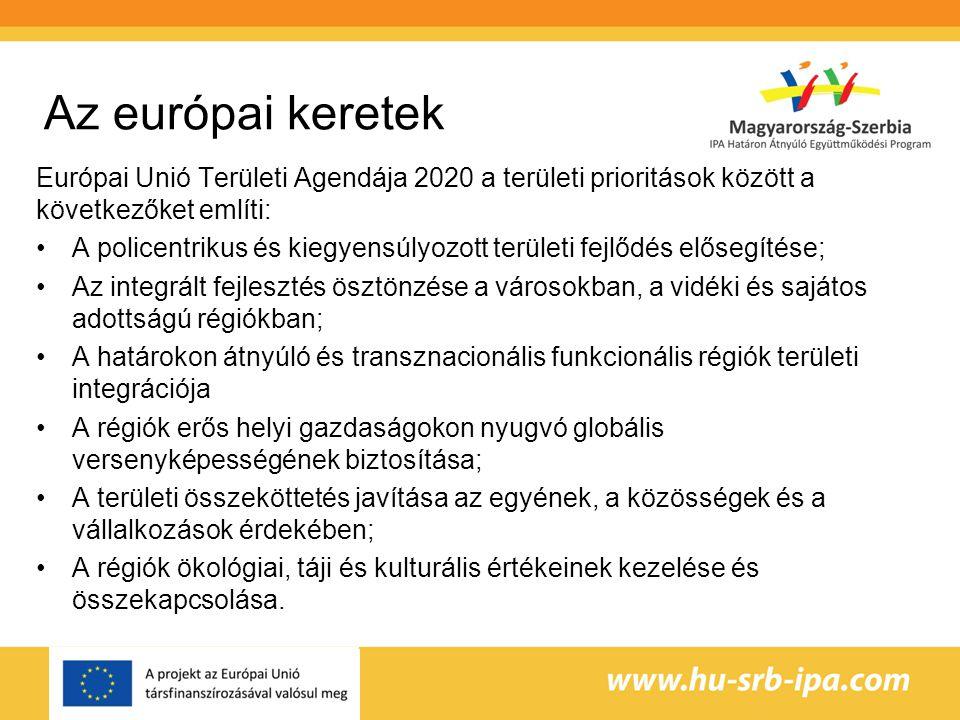 Az európai keretek Európai Unió Területi Agendája 2020 a területi prioritások között a következőket említi: A policentrikus és kiegyensúlyozott területi fejlődés elősegítése; Az integrált fejlesztés ösztönzése a városokban, a vidéki és sajátos adottságú régiókban; A határokon átnyúló és transznacionális funkcionális régiók területi integrációja A régiók erős helyi gazdaságokon nyugvó globális versenyképességének biztosítása; A területi összeköttetés javítása az egyének, a közösségek és a vállalkozások érdekében; A régiók ökológiai, táji és kulturális értékeinek kezelése és összekapcsolása.
