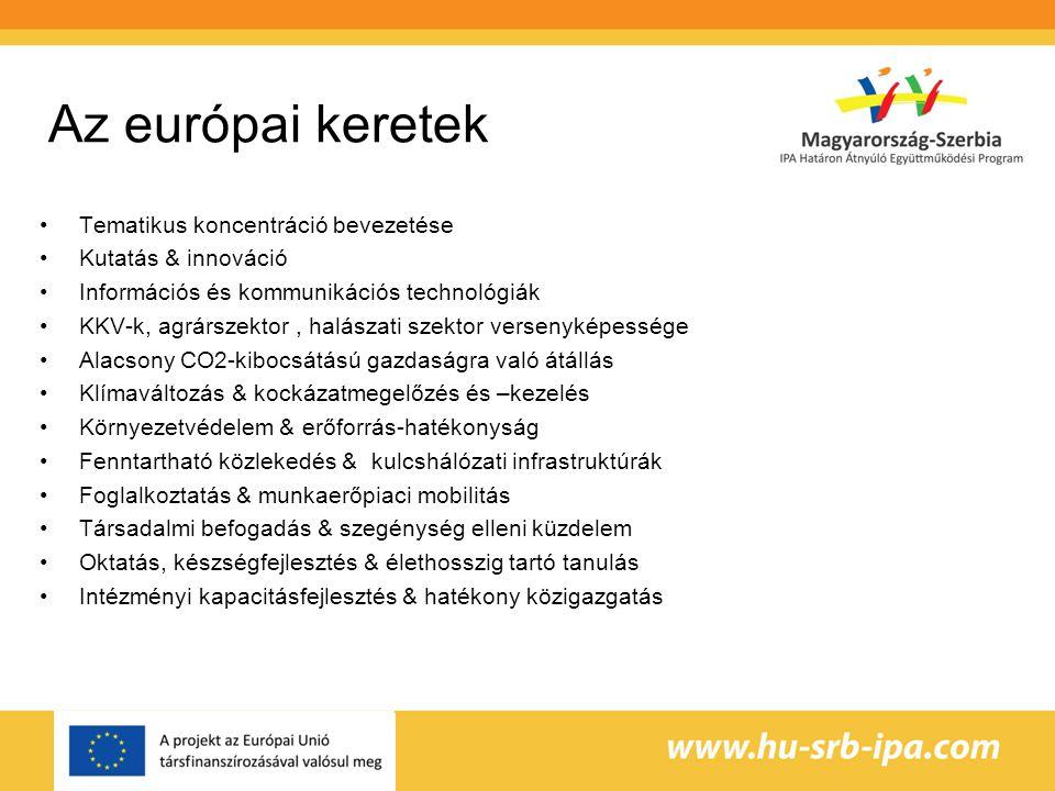 Az európai keretek Tematikus koncentráció bevezetése Kutatás & innováció Információs és kommunikációs technológiák KKV-k, agrárszektor, halászati szektor versenyképessége Alacsony CO2-kibocsátású gazdaságra való átállás Klímaváltozás & kockázatmegelőzés és –kezelés Környezetvédelem & erőforrás-hatékonyság Fenntartható közlekedés & kulcshálózati infrastruktúrák Foglalkoztatás & munkaerőpiaci mobilitás Társadalmi befogadás & szegénység elleni küzdelem Oktatás, készségfejlesztés & élethosszig tartó tanulás Intézményi kapacitásfejlesztés & hatékony közigazgatás