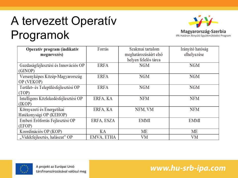 A tervezett Operatív Programok
