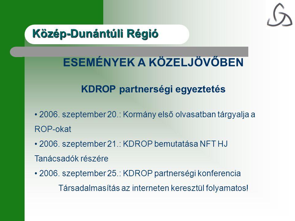 ESEMÉNYEK A KÖZELJÖVŐBEN KDROP partnerségi egyeztetés 2006.