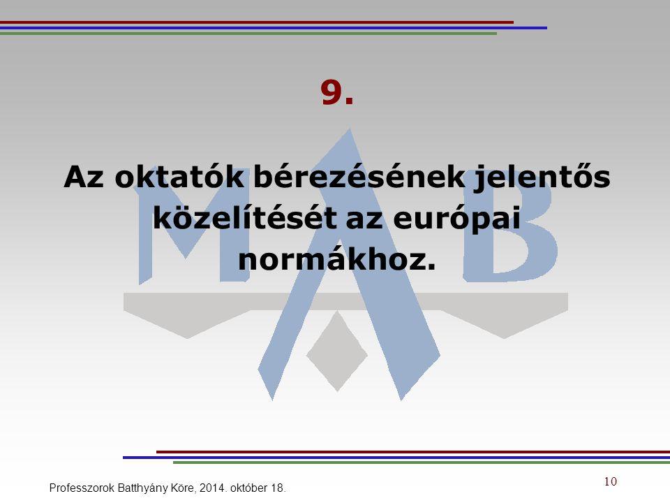 9. Az oktatók bérezésének jelentős közelítését az európai normákhoz.