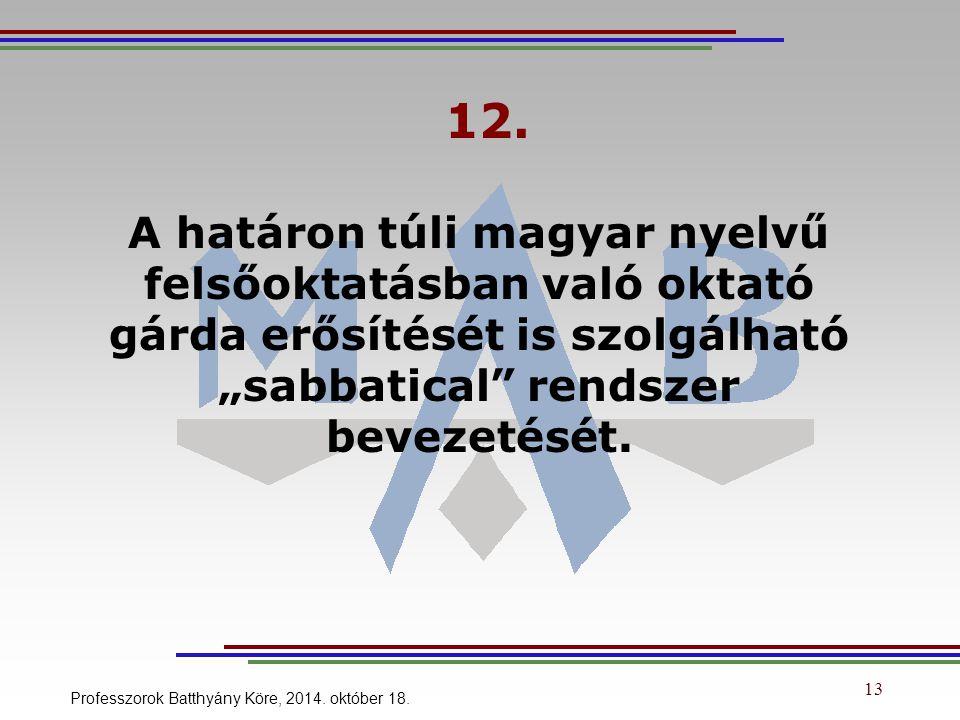 """12. A határon túli magyar nyelvű felsőoktatásban való oktató gárda erősítését is szolgálható """"sabbatical"""" rendszer bevezetését. Professzorok Batthyány"""