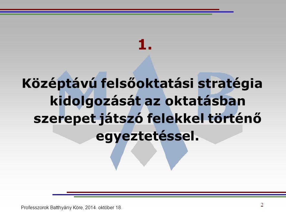 2 1. Középtávú felsőoktatási stratégia kidolgozását az oktatásban szerepet játszó felekkel történő egyeztetéssel. Professzorok Batthyány Köre, 2014. o
