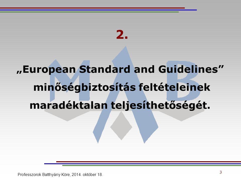 """3 2. """"European Standard and Guidelines"""" minőségbiztosítás feltételeinek maradéktalan teljesíthetőségét. Professzorok Batthyány Köre, 2014. október 18."""