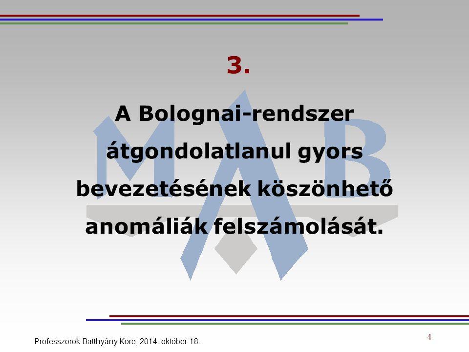 4 3. A Bolognai-rendszer átgondolatlanul gyors bevezetésének köszönhető anomáliák felszámolását.