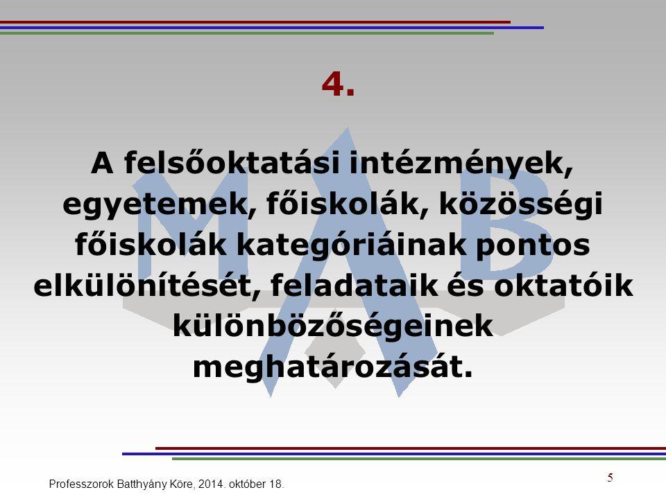 5. Felsőoktatási életpálya modell kidolgozását. 6 Professzorok Batthyány Köre, 2014. október 18.