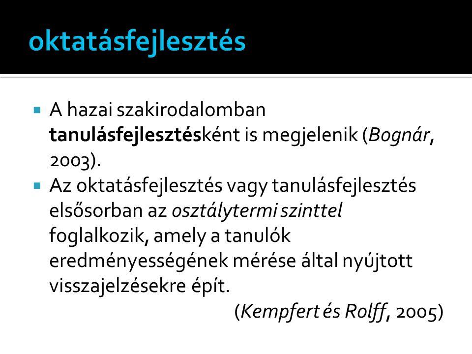  A hazai szakirodalomban tanulásfejlesztésként is megjelenik (Bognár, 2003).