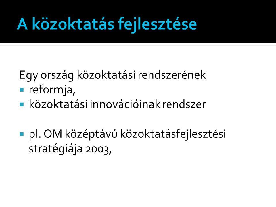 Egy ország közoktatási rendszerének  reformja,  közoktatási innovációinak rendszer  pl.