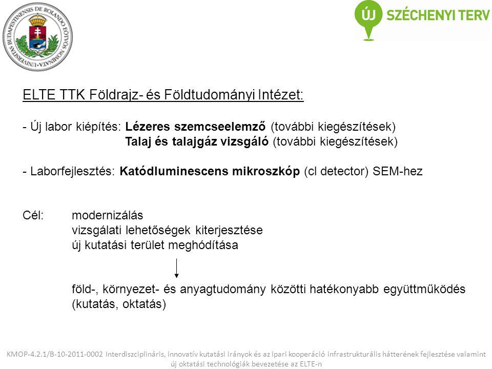 ELTE TTK Földrajz- és Földtudományi Intézet: - Új labor kiépítés: Lézeres szemcseelemző (további kiegészítések) Talaj és talajgáz vizsgáló (további ki