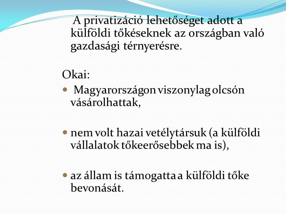 A privatizáció lehetőséget adott a külföldi tőkéseknek az országban való gazdasági térnyerésre. Okai: Magyarországon viszonylag olcsón vásárolhattak,