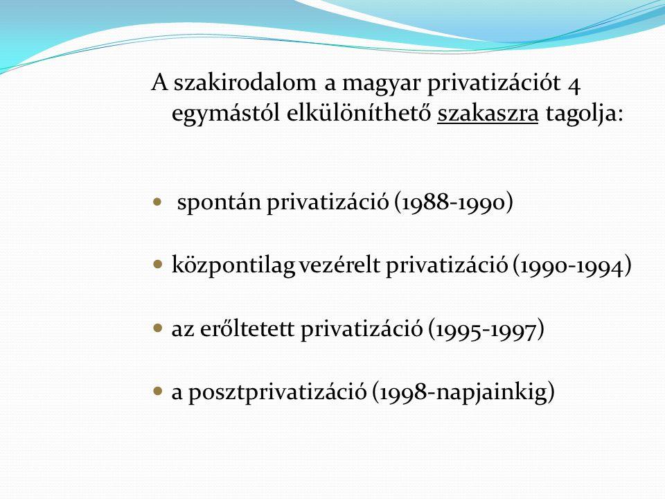 A szakirodalom a magyar privatizációt 4 egymástól elkülöníthető szakaszra tagolja: spontán privatizáció (1988-1990) központilag vezérelt privatizáció