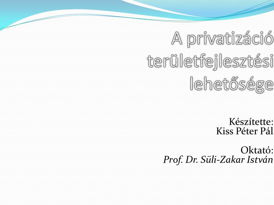 Készítette: Kiss Péter Pál Oktató: Prof. Dr. Süli-Zakar István