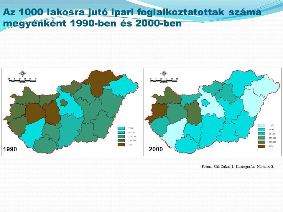 Az 1000 lakosra jutó ipari foglalkoztatottak száma megyénként 1990-ben és 2000-ben 19902000 Forrás: Süli-Zakar I. Kartográfus: Németh G.