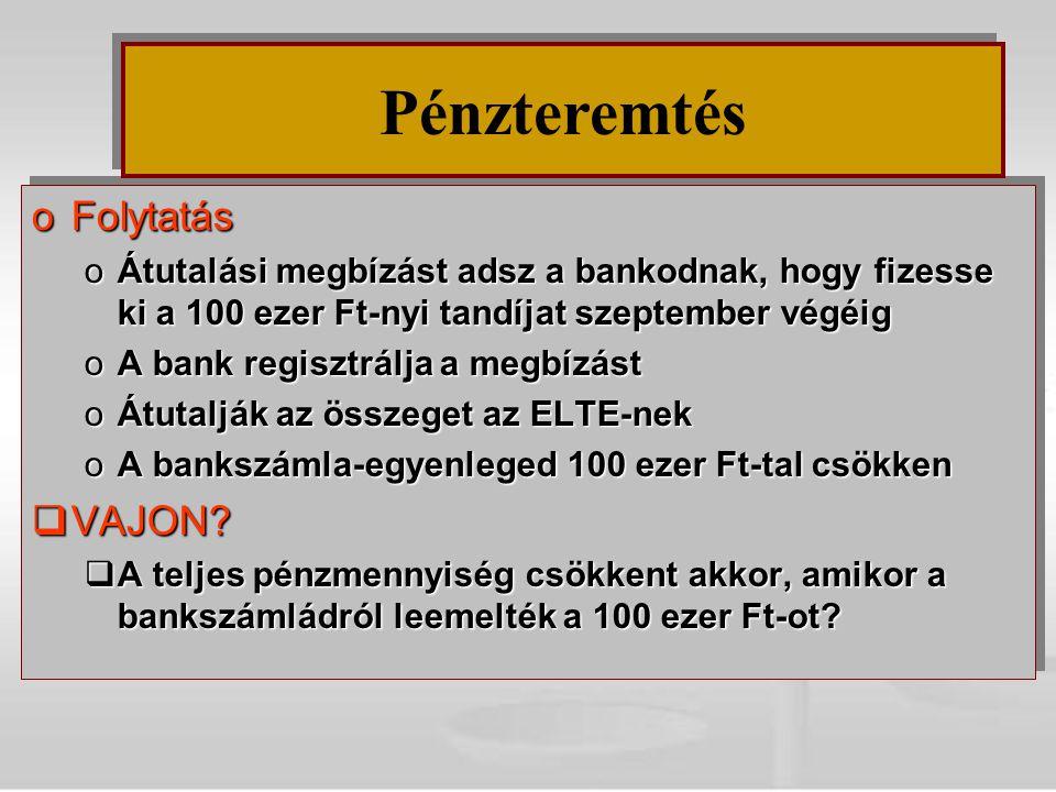 oFolytatás oÁtutalási megbízást adsz a bankodnak, hogy fizesse ki a 100 ezer Ft-nyi tandíjat szeptember végéig oA bank regisztrálja a megbízást oÁtuta