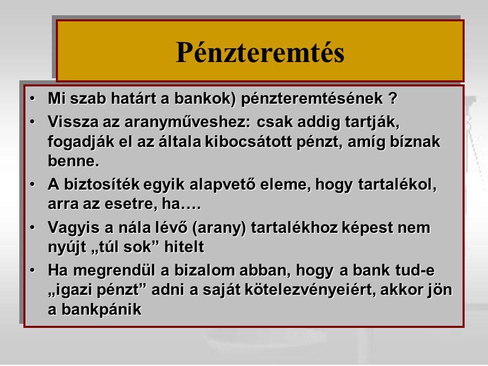 Mi szab határt a bankok) pénzteremtésének ?Mi szab határt a bankok) pénzteremtésének ? Vissza az aranyműveshez: csak addig tartják, fogadják el az ált