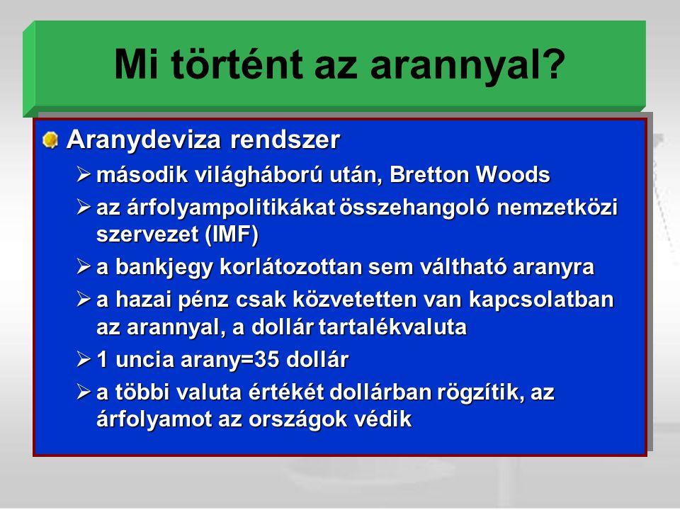 Mi történt az arannyal? Aranydeviza rendszer  második világháború után, Bretton Woods  az árfolyampolitikákat összehangoló nemzetközi szervezet (IMF
