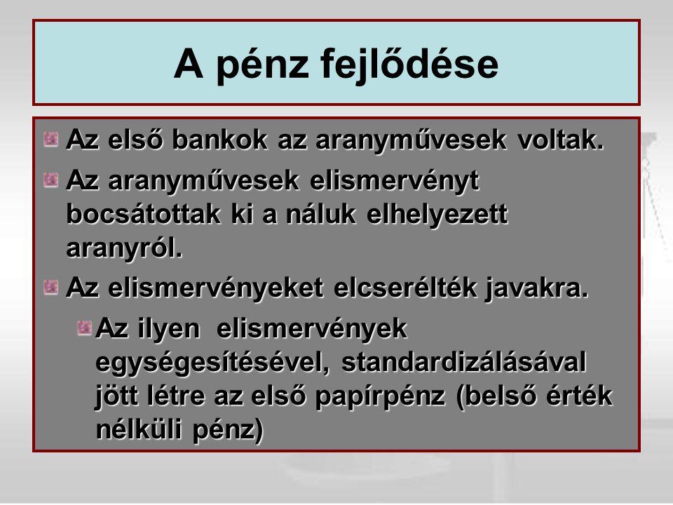 A magyar bankrendszer A közelmúlt története 1947-1987: Egyszintű bankrendszer: a központi bank nem csak a jegybanki szerepet tölti be, hanem a kereskedelmi banki funkciókat is: lakosság, vállalatok.