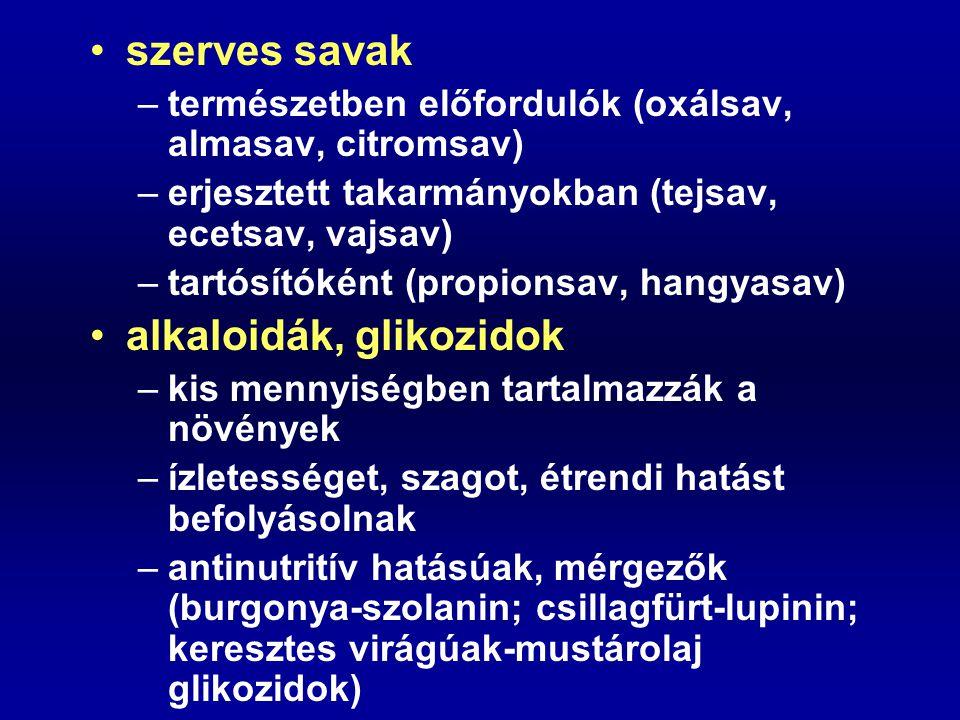 szerves savak –természetben előfordulók (oxálsav, almasav, citromsav) –erjesztett takarmányokban (tejsav, ecetsav, vajsav) –tartósítóként (propionsav,