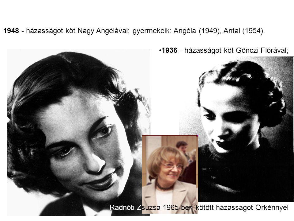 1936 - házasságot köt Gönczi Flórával; 1948 - házasságot köt Nagy Angélával; gyermekeik: Angéla (1949), Antal (1954). Radnóti Zsuzsa 1965-ben kötött h