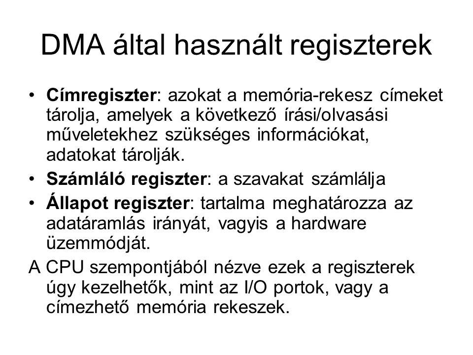 DMA által használt regiszterek Címregiszter: azokat a memória-rekesz címeket tárolja, amelyek a következő írási/olvasási műveletekhez szükséges információkat, adatokat tárolják.
