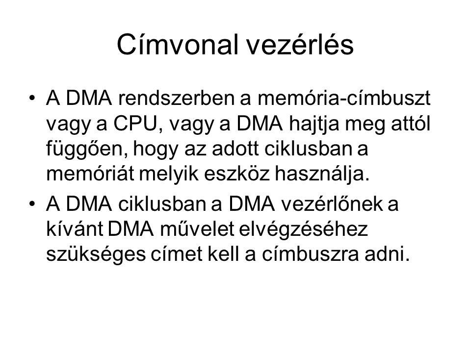 Címvonal vezérlés A DMA rendszerben a memória-címbuszt vagy a CPU, vagy a DMA hajtja meg attól függően, hogy az adott ciklusban a memóriát melyik eszk