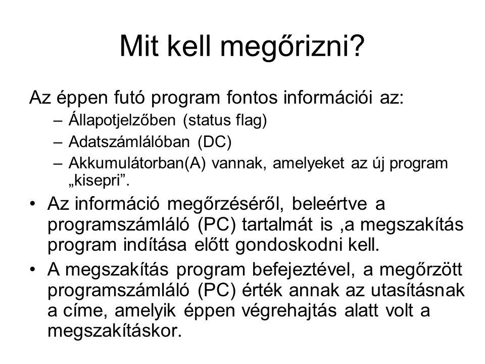 Mit kell megőrizni? Az éppen futó program fontos információi az: –Állapotjelzőben (status flag) –Adatszámlálóban (DC) –Akkumulátorban(A) vannak, amely