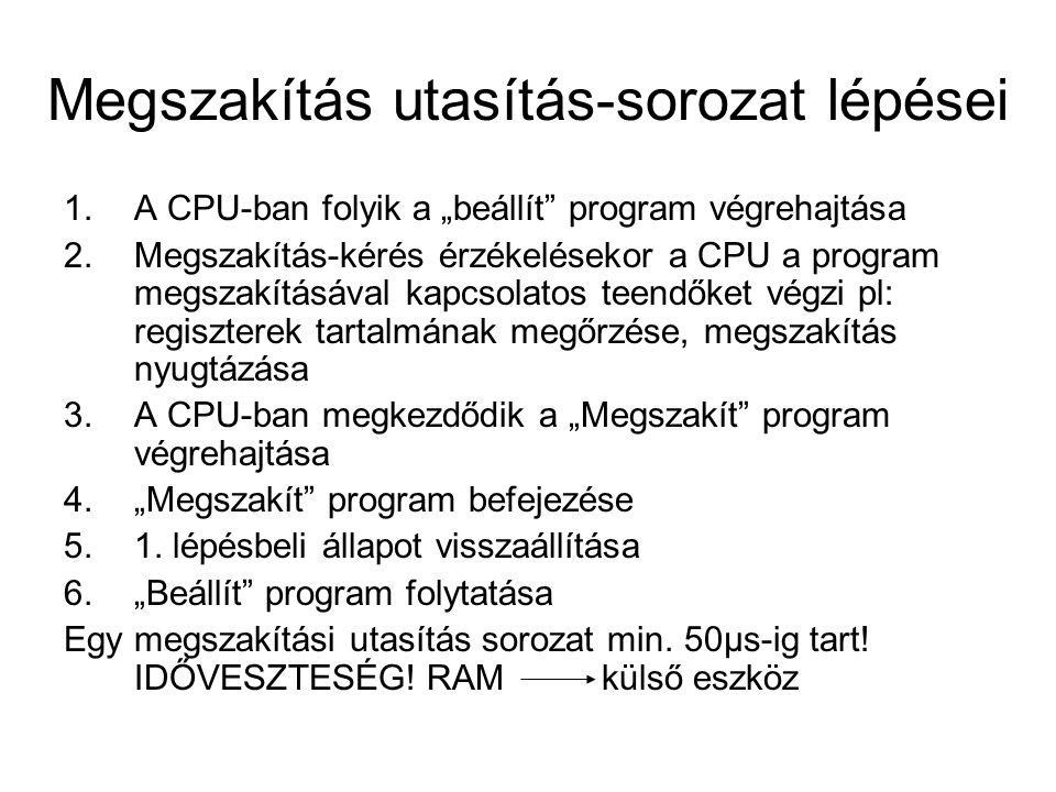"""Megszakítás utasítás-sorozat lépései 1.A CPU-ban folyik a """"beállít program végrehajtása 2.Megszakítás-kérés érzékelésekor a CPU a program megszakításával kapcsolatos teendőket végzi pl: regiszterek tartalmának megőrzése, megszakítás nyugtázása 3.A CPU-ban megkezdődik a """"Megszakít program végrehajtása 4.""""Megszakít program befejezése 5.1."""