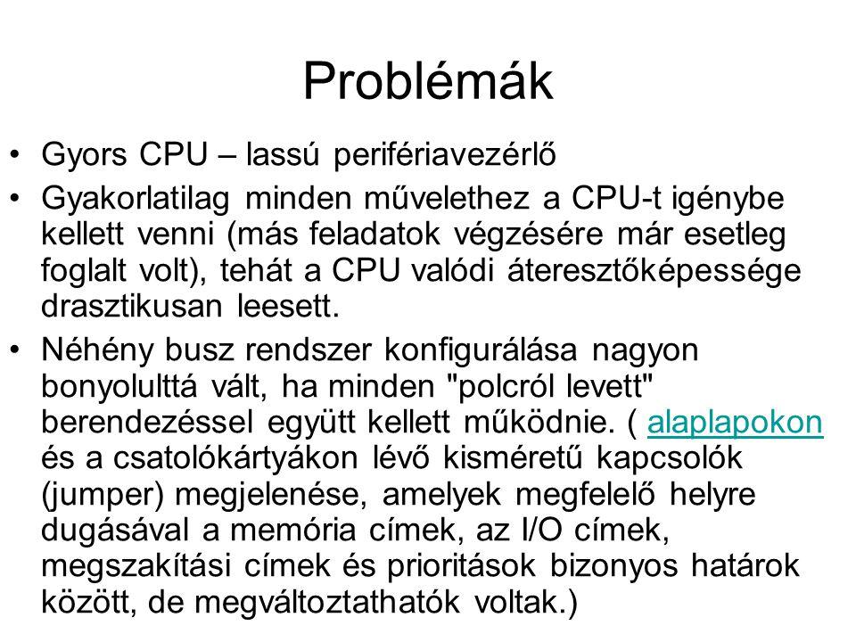 Problémák Gyors CPU – lassú perifériavezérlő Gyakorlatilag minden művelethez a CPU-t igénybe kellett venni (más feladatok végzésére már esetleg foglalt volt), tehát a CPU valódi áteresztőképessége drasztikusan leesett.