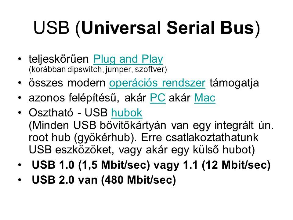 USB (Universal Serial Bus) teljeskörűen Plug and Play (korábban dipswitch, jumper, szoftver)Plug and Play összes modern operációs rendszer támogatjaoperációs rendszer azonos felépítésű, akár PC akár MacPCMac Osztható - USB hubok (Minden USB bővítőkártyán van egy integrált ún.