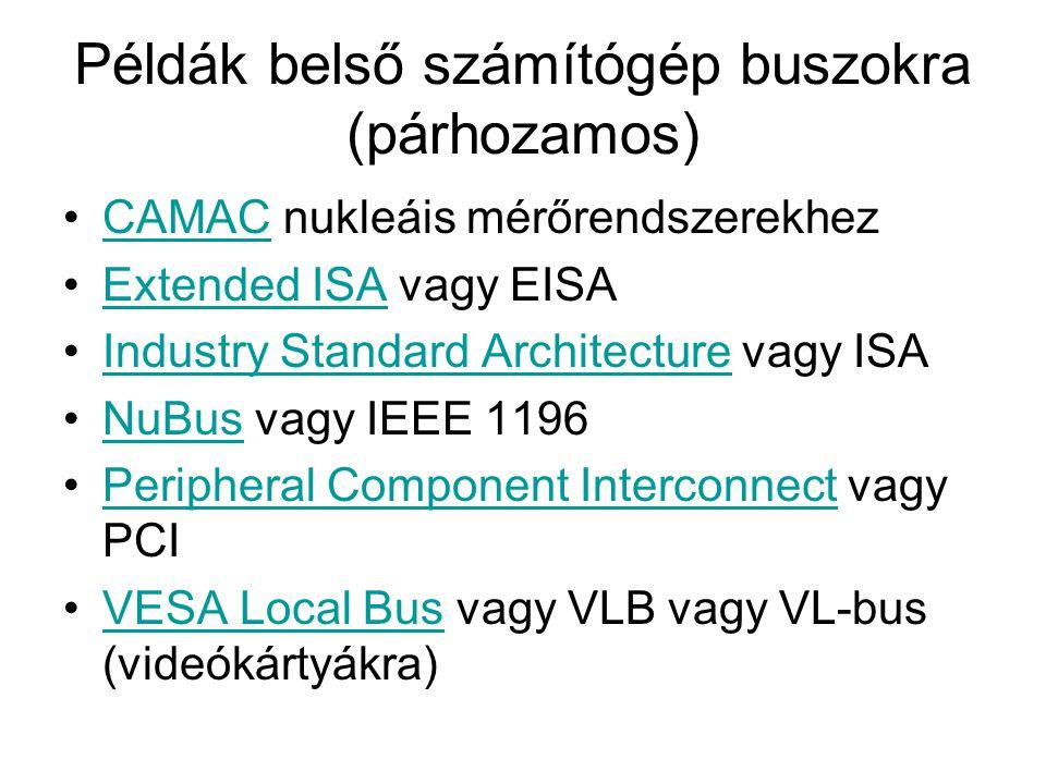 Példák belső számítógép buszokra (párhozamos) CAMAC nukleáis mérőrendszerekhezCAMAC Extended ISA vagy EISAExtended ISA Industry Standard Architecture vagy ISAIndustry Standard Architecture NuBus vagy IEEE 1196NuBus Peripheral Component Interconnect vagy PCIPeripheral Component Interconnect VESA Local Bus vagy VLB vagy VL-bus (videókártyákra)VESA Local Bus