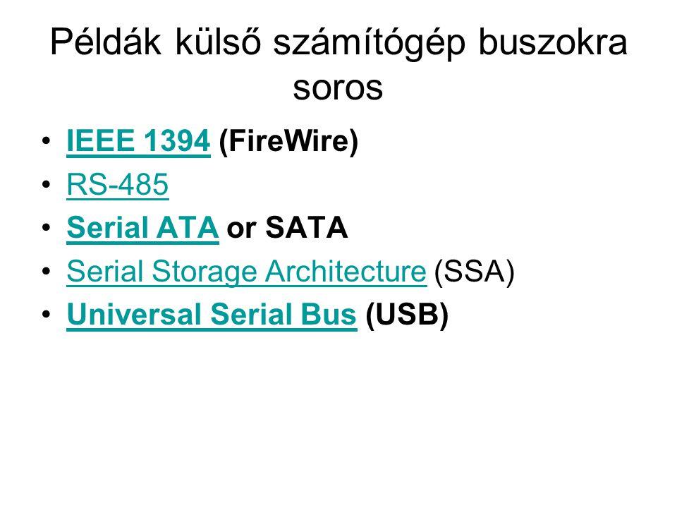 Példák külső számítógép buszokra soros IEEE 1394 (FireWire)IEEE 1394 RS-485 Serial ATA or SATASerial ATA Serial Storage Architecture (SSA)Serial Storage Architecture Universal Serial Bus (USB)Universal Serial Bus