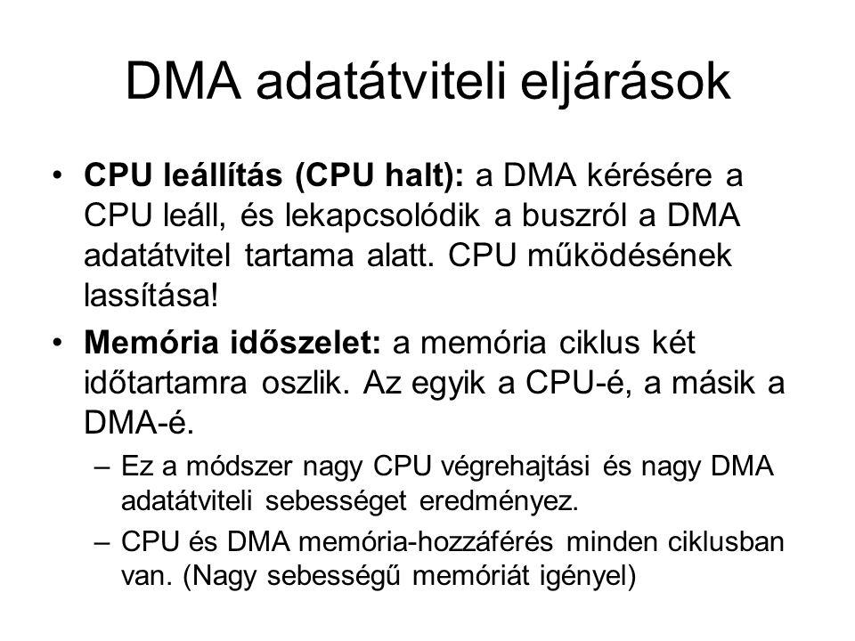 DMA adatátviteli eljárások CPU leállítás (CPU halt): a DMA kérésére a CPU leáll, és lekapcsolódik a buszról a DMA adatátvitel tartama alatt.