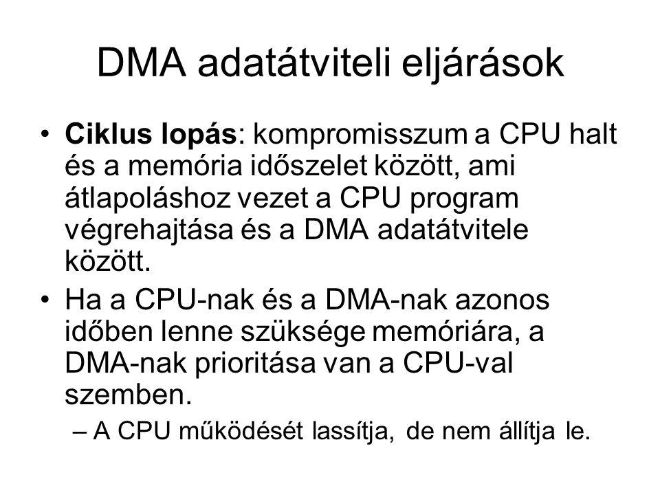 Adatátviteli vezérlés A DMA vezérlőnek a memória és az I/O készülék közötti közvetlen adatátvitelhez –megfelelő időzítéssel- vezérlőjeleket kell szolgáltatni.