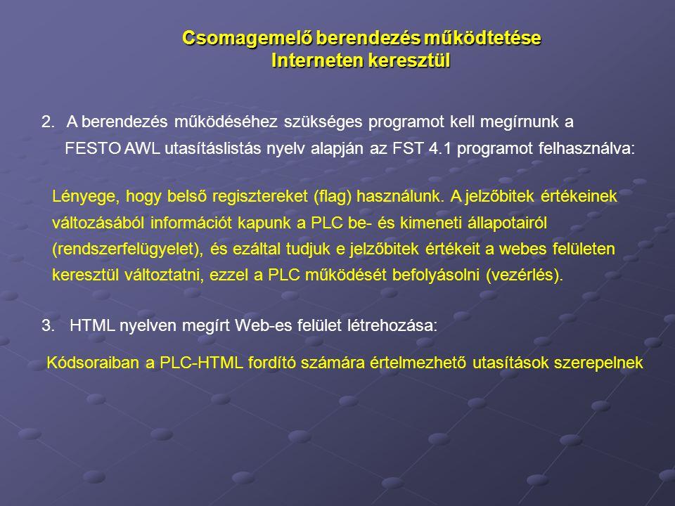 Csomagemelő berendezés működtetése Interneten keresztül 2.A berendezés működéséhez szükséges programot kell megírnunk a FESTO AWL utasításlistás nyelv