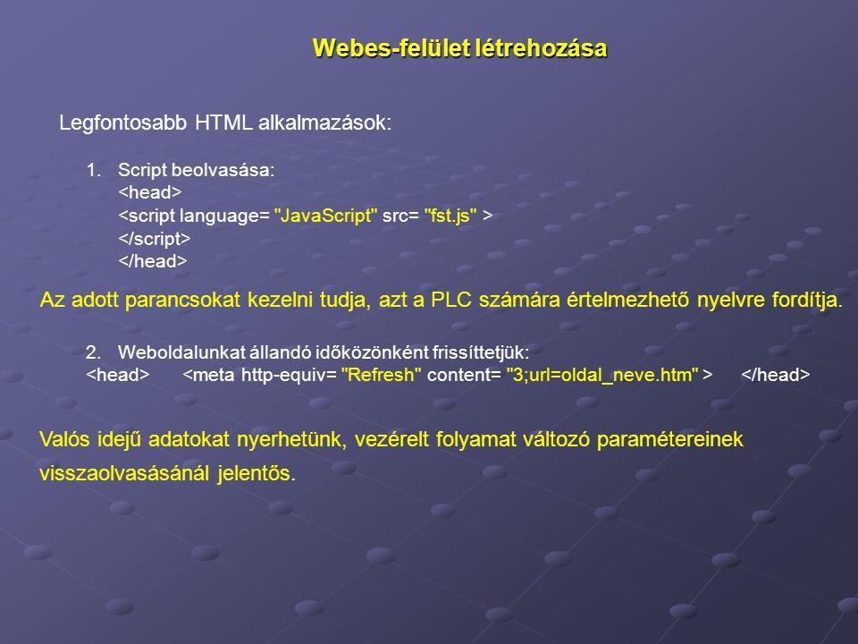 Webes-felület létrehozása Legfontosabb HTML alkalmazások: 1.Script beolvasása: Az adott parancsokat kezelni tudja, azt a PLC számára értelmezhető nyelvre fordítja.