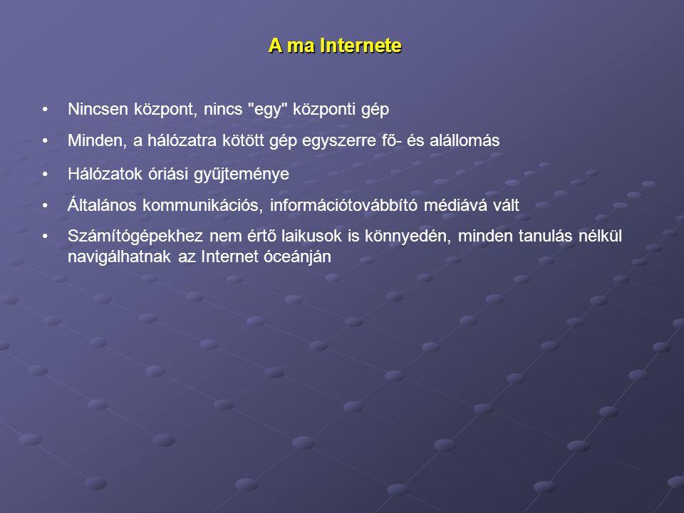 A ma Internete Nincsen központ, nincs
