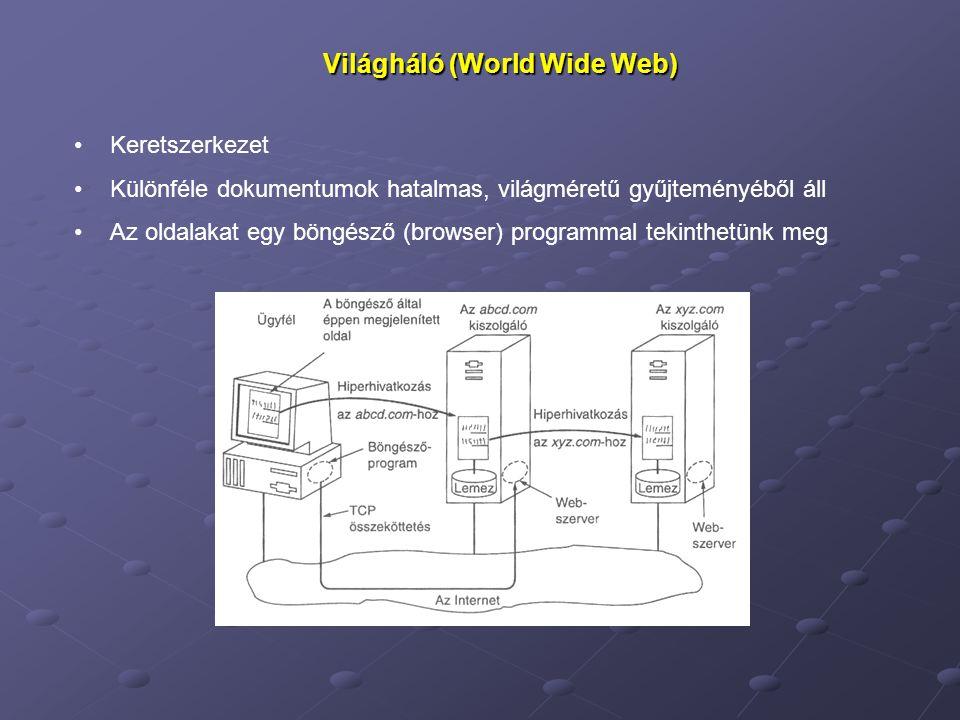 Világháló (World Wide Web) Keretszerkezet Különféle dokumentumok hatalmas, világméretű gyűjteményéből áll Az oldalakat egy böngésző (browser) programmal tekinthetünk meg