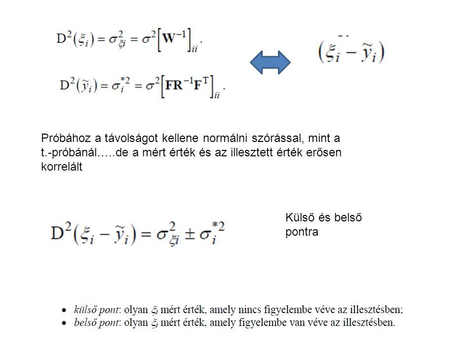 Próbához a távolságot kellene normálni szórással, mint a t.-próbánál…..de a mért érték és az illesztett érték erősen korrelált Külső és belső pontra
