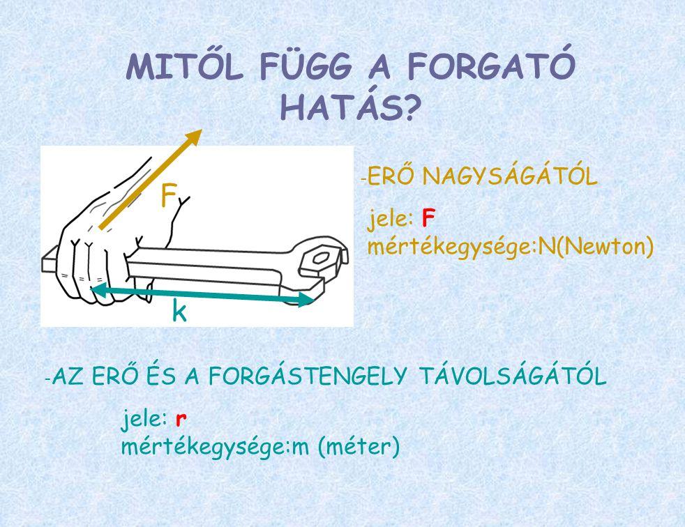 MITŐL FÜGG A FORGATÓ HATÁS? - ERŐ NAGYSÁGÁTÓL jele: F mértékegysége:N(Newton) - AZ ERŐ ÉS A FORGÁSTENGELY TÁVOLSÁGÁTÓL jele: r mértékegysége:m (méter)