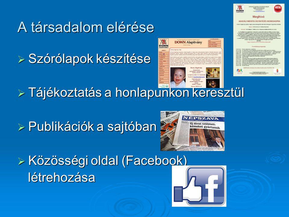 A társadalom elérése  Szórólapok készítése  Tájékoztatás a honlapunkon keresztül  Publikációk a sajtóban  Közösségi oldal (Facebook) létrehozása létrehozása