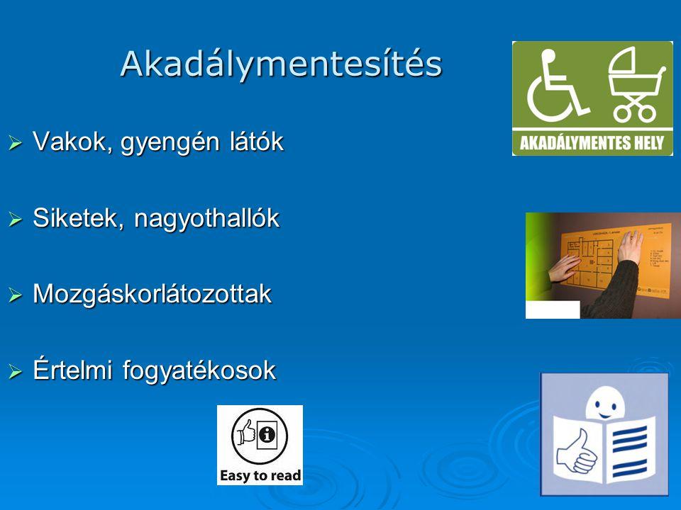 Akadálymentesítés  Vakok, gyengén látók  Siketek, nagyothallók  Mozgáskorlátozottak  Értelmi fogyatékosok