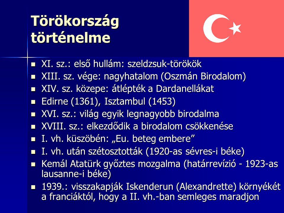 Törökország történelme XI. sz.: első hullám: szeldzsuk-törökök XI. sz.: első hullám: szeldzsuk-törökök XIII. sz. vége: nagyhatalom (Oszmán Birodalom)