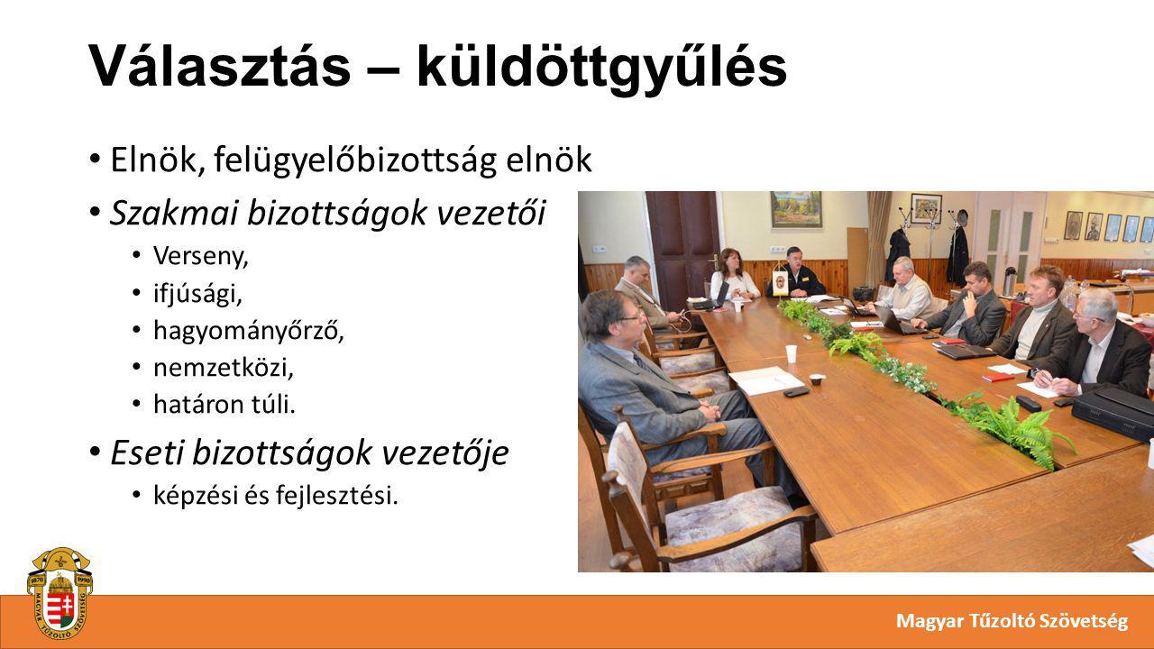 Választás – küldöttgyűlés Magyar Tűzoltó Szövetség Elnök, felügyelőbizottság elnök Szakmai bizottságok vezetői Verseny, ifjúsági, hagyományőrző, nemzetközi, határon túli.