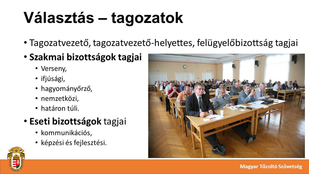 Választás – tagozatok Magyar Tűzoltó Szövetség Tagozatvezető, tagozatvezető-helyettes, felügyelőbizottság tagjai Szakmai bizottságok tagjai Verseny, ifjúsági, hagyományőrző, nemzetközi, határon túli.