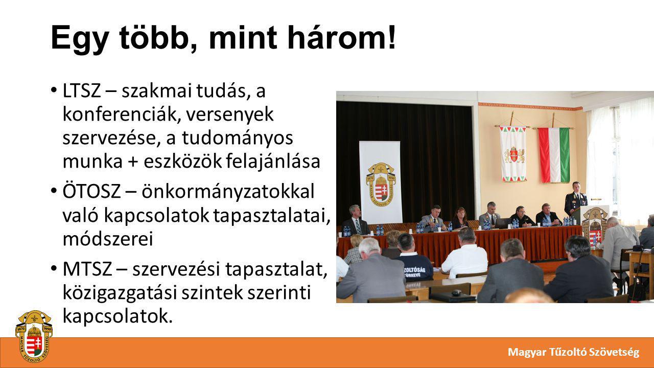 Egy több, mint három! Magyar Tűzoltó Szövetség LTSZ – szakmai tudás, a konferenciák, versenyek szervezése, a tudományos munka + eszközök felajánlása Ö