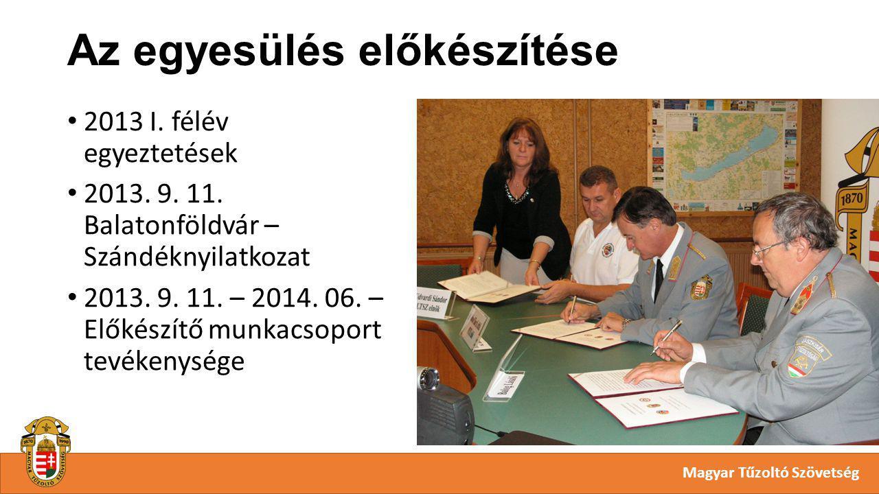 Az egyesülés előkészítése Magyar Tűzoltó Szövetség 2013 I.